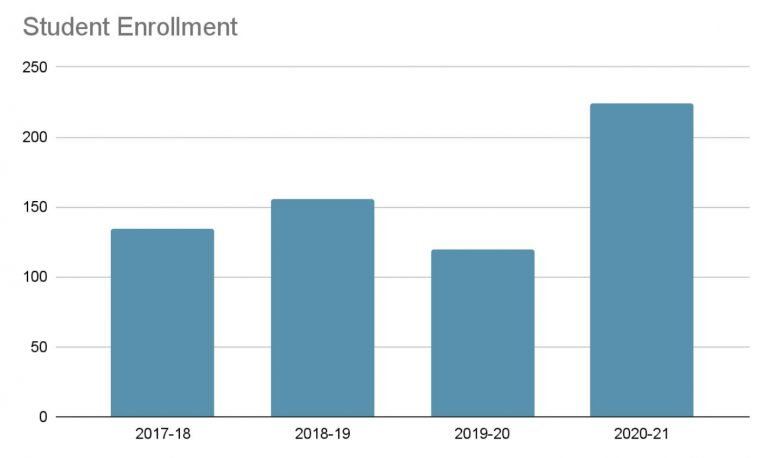 Student enrollment numbers by year since 2017
